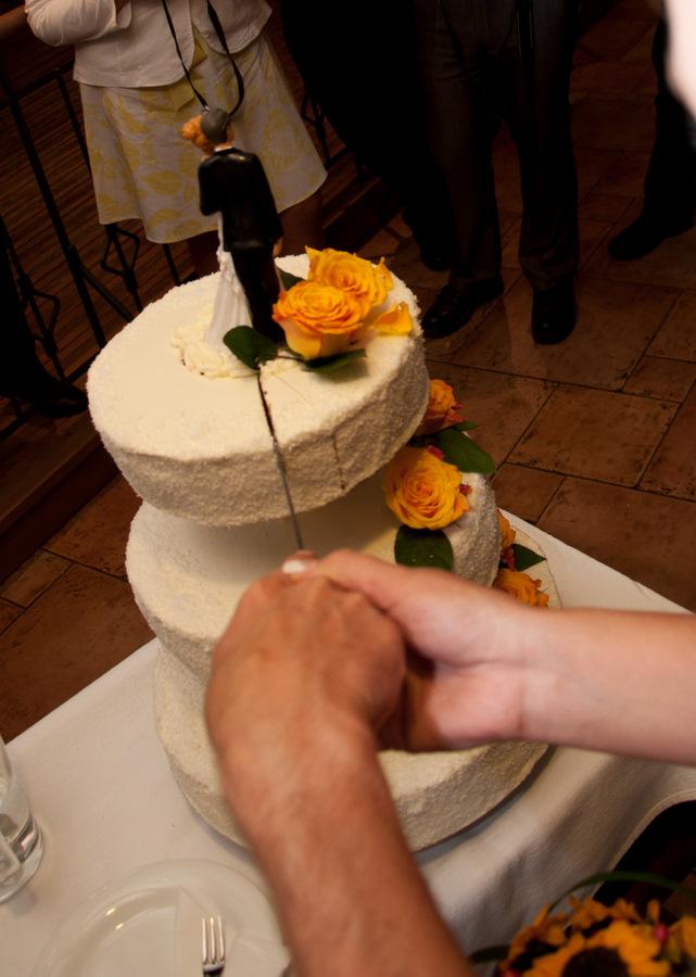 Rezanje poročne torte na poroki, kjer je igral ansambel Jurčki, ki je najboljši ansambel, bend ali skupina za poroke, veselice, abrahame, praznovanja in zabave. Jurčki so odlična skupina za poroko. Na poroki naredijo odlično vzdušje.